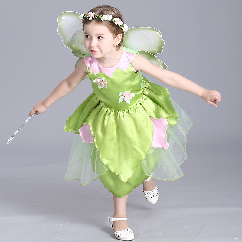 Green Toddler Girls Fairy New Sleeveless O-neck 3-10T Halloween Festival Cosplay Show Stage Performance Costume Dress