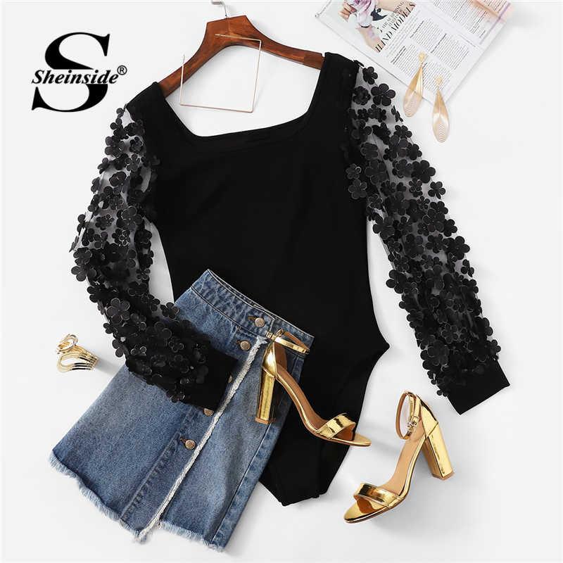 Sheinside Элегантный Цветочный Аппликация сетчатый рукав боди для женщин средняя талия Черный Боди для женщин квадратный вырез с длинным рукавом боди