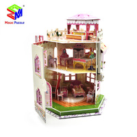 Magic Puzzle DIY Puzzle 3D Cartoon House Home Bed Room Model Princess Castle Jigsaw Puzzle For