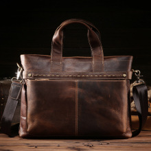 Factory direct sale, mens Retro mad horse handbag, real leather business bag, cowhide briefcase, spot 8029-3