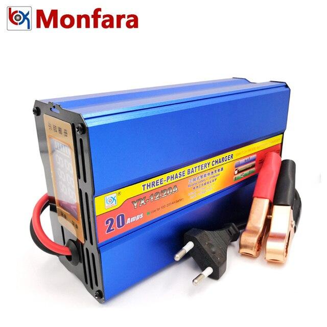 12 V 20A cargador de batería de coche Auto motocicleta barco carretilla elevadora camión plomo ácido AGM baterías de carga 12 voltios 20 AMP 100AH 200AH