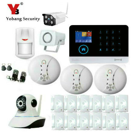 YobangSecurity Wireless WIFI GSM GPRS RFID Home Security System Alarm Outdoor IP Camera Smoke Fire Detector iOS Android App smartyiba wireless wifi gsm gprs rfid home security alarm system home automation system ip camera smoke fire sensor detector