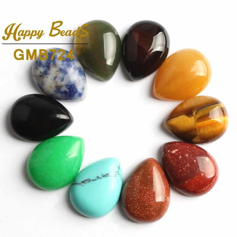 Piedra Natural mezclada Oval redondo CAB PIEDRA DE cabujón gema lágrima cuentas para joyería y accesorios de anillo de ropa 10/20 unids/lote