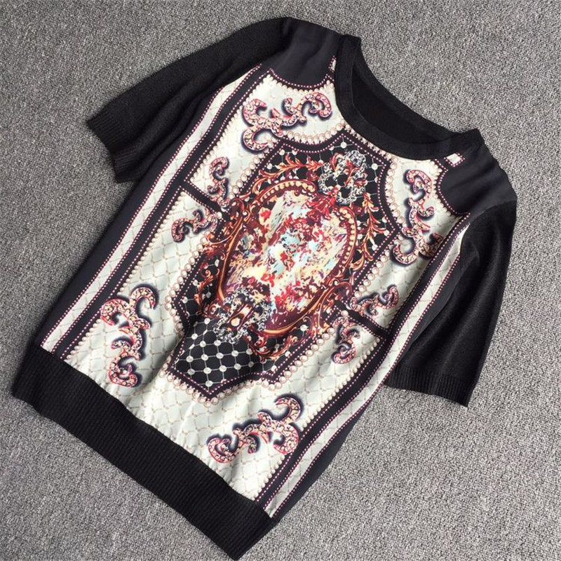 Luxury Designer Brand Knitted Blouses For Women O Neck Baroque Print 30% Silk Spliced Loose Knitted Blouses Black Shirts
