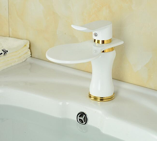 Waterfall bathroom faucet hot and cold water basin taps mixer washbasin single handle single hole faucets tap home supplies luxury led light bathroom basin faucet single water waterfall square washbasin mixer tap rgb color changing hot and cold taps