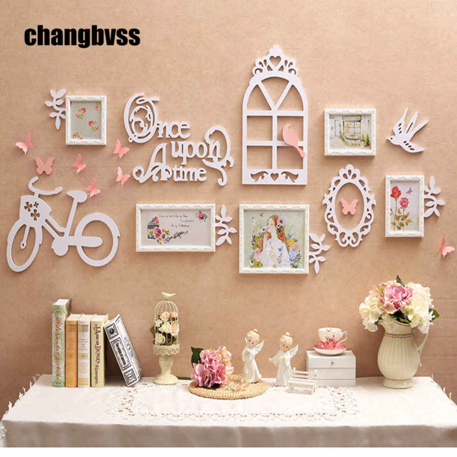 European Garden Style 5pcs/set Photo Frame +3D Wall Decorations Solid Wood Carved Frames Home Decor Picture Frame Set moldura