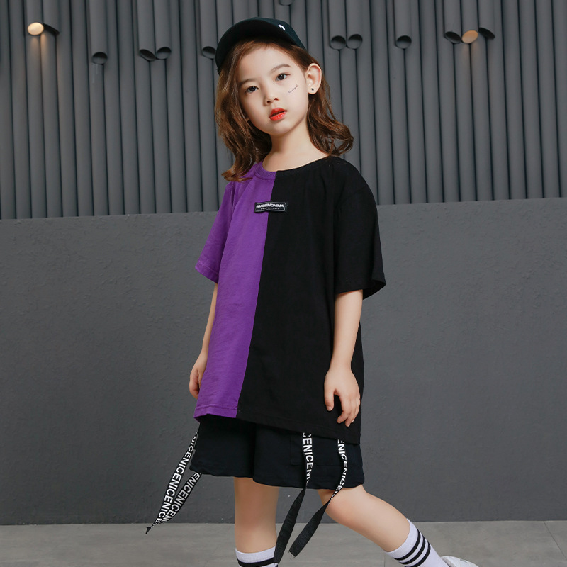 Image 4 - Girls Boys Punk Shirts Purple Hip Hop Clothing for Kids Ballroom Dance Clothing Jazz Children Loose Pants Stage Costume Suits-in Ballroom from Novelty & Special Use