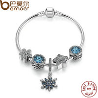 BAMOER Summer Collection 925 Sterling Silver Blue Charm Bracelet With Radiant Hearts,Snowflake Jewelry PSB004