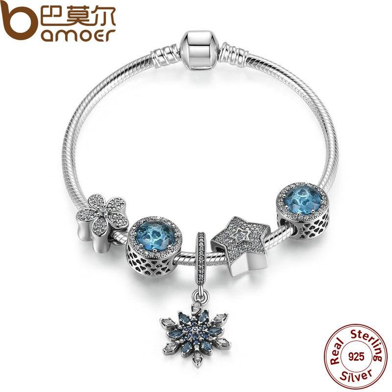 BAMOER Летняя коллекция 925 серебро синий браслет с Радиант сердца, снежинка ювелирные изделия PSB004
