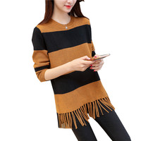 2017 Winter New Korean Version Of The Loose Striped Tassel Long Sleeve Thick Sweater Large Size