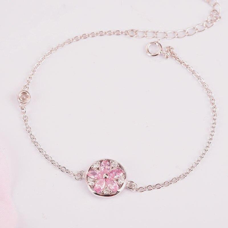 Stříbrný náramek z třešňového květu se zirkonem Sakura náramek 925 růžový spodní náramek dámské módní šperky