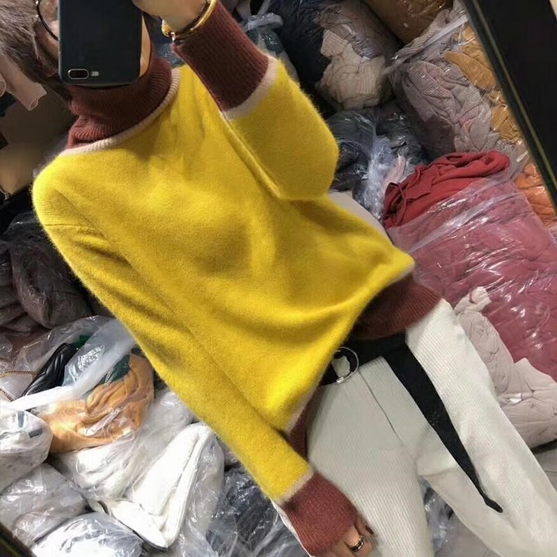 Femmes Laine jaune Chandail Cachemire Lâche Pull Manteau Automne caramel Col Colour Tricot Nouvelle De Haut Mode Hiver Et Série Gris En 2018 Frseucag TzBagqT