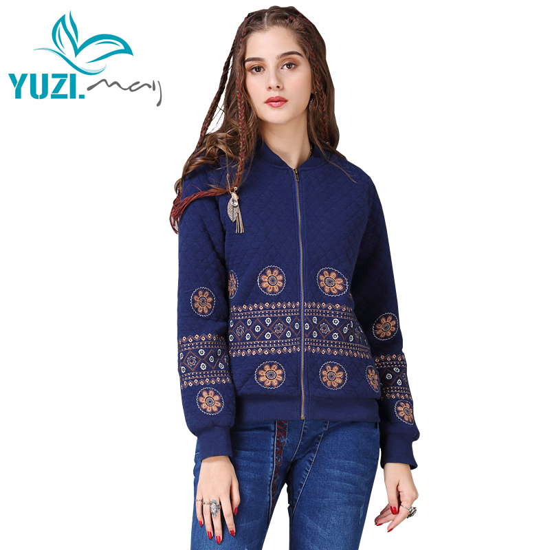 Winter Jacket Women Yuzi may Boho New Cotton Coats Stand Collar Vintage Embroidery Zipper Thicken Warm