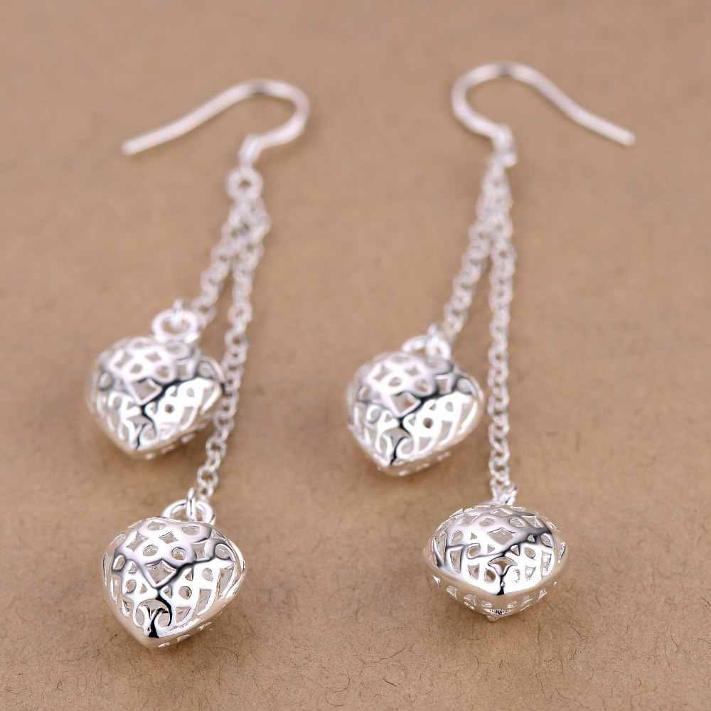 925 เงินต่างหูผู้หญิงยาวพู่ Hearts Dangler ต่างหู Brincos Femme งานแต่งงานเจ้าสาวเครื่องประดับ Bijoux ของขวัญ