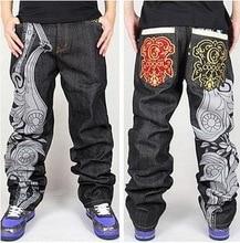 Горячие мужчины мешковатые джинсы плюс большой размер мужская хип-хоп джинсы длинные широкий мода скейтборд багги расслабленной форме джинсы для мужчин брюки черный