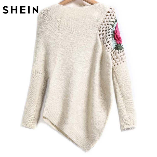 placeholder SHEIN Apricot Round Neck Floral Crochet Loose Sweater 2017 Fall  Women New Sweaters Embroidery Asymmetrical Pullovers 5a50ed9a5