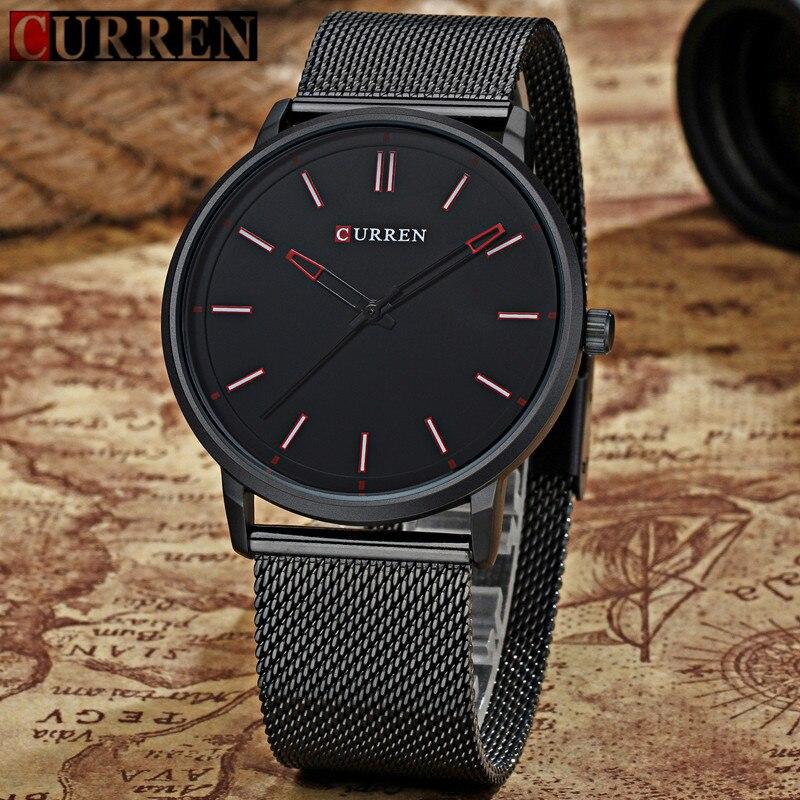2018 Top Luxus Marke Curren Uhren Männer Mode Edelstahl Mesh-armband Quarz-uhr Ultra Dünne Zifferblatt Uhr Relogio Masculino Uhren