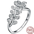 Plant Leaves Shape 100% Real 925 Sterling Silver Solid Zirconia Rings Women/Femme Porm Girl Elegant Brand Design Jewelry Bohemia