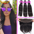 Brazilian Virgin Hair Straight 3Bundles With Ear to Ear Lace Frontal Closure 7A Brazilian Straight Hair with Baby Hair Frontal