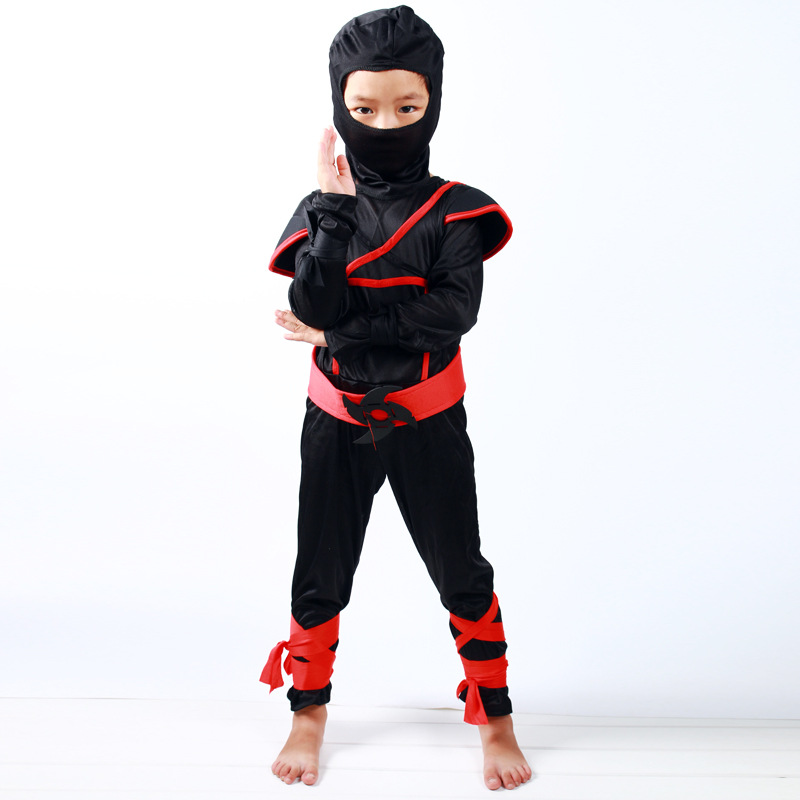 Ainiel Full Set Black Ninja Warrior Cosplay Costumes Boy Kids Christmas Day New Year Purim Halloween party game gift Children