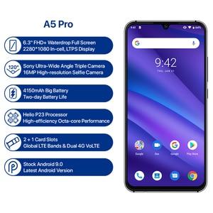 Image 2 - Global Version UMIDIGI A5 PRO 16MP Triple Camera Dual 4G Mobile Phone 4GB 32GB 6.3 FHD Android 9.0 Octa Core 4150mAh Smartphone
