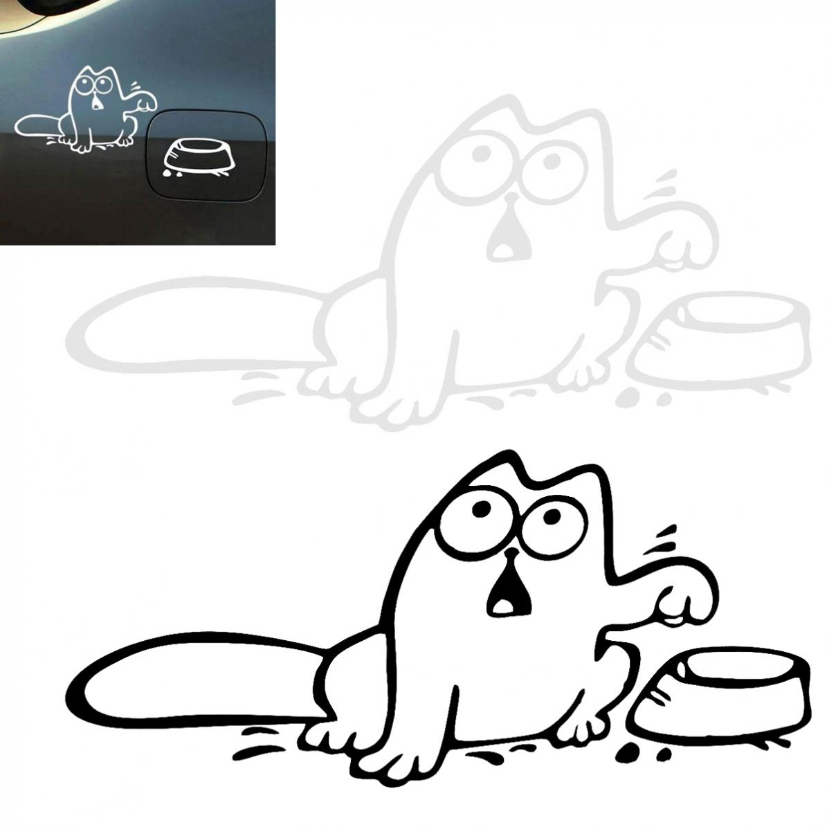Waterproof 16 x 10CM Reflective Material Cat Pattern Creative Funny Car Sticker Accessories for Cars Fuel Tank