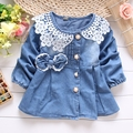 2016 spring&autumn new baby girls denim jacket lace collar kids cardigan suit 2-7T children bow casacos infantis menina