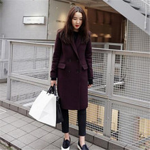 Winter New Women's Wool Coat Slim Thick Woolen Coats Female Wine Red Long Jacket Fashion Overcoat Casual Coat Women C1188