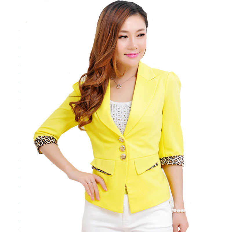 c4728c6836790 Detail Feedback Questions about 2XL 3XL 4XL Summer Autumn Casual Yellow Women s  Blazer Female Suit Jackets Button Pockets Leopard Print Plus Sze Blazers ...