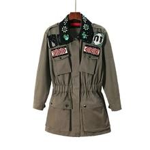 Army Green Pearl Beaded Coat Runway Designer Fashion Long SL