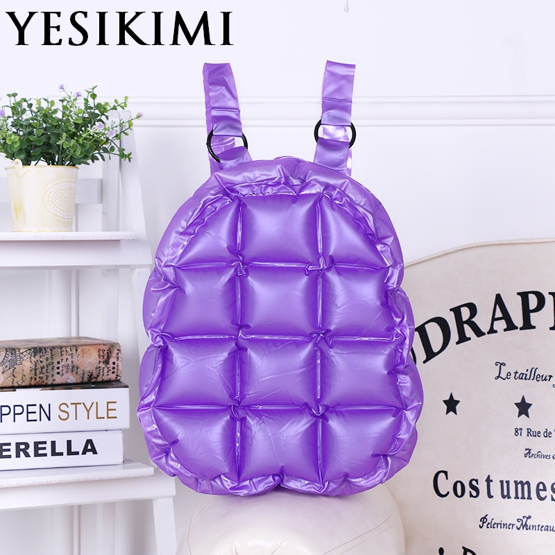 2017 New Women Beach Bags Waterproof Inflatable Purse Backpack Candy Color Jelly Diamond Lattice Quality PVC