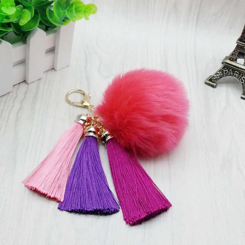 Nova tassel pele chaveiro-8 cm pom pom carro chaveiro com 3 borlas pele pompom saco chaveiro pingente jóias #16010