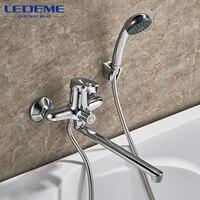 LEDEME Bathroom Shower Faucet Set Chrome Plated Outlet Pipe Bath Shower Faucets Surface Brass Inside Faucets