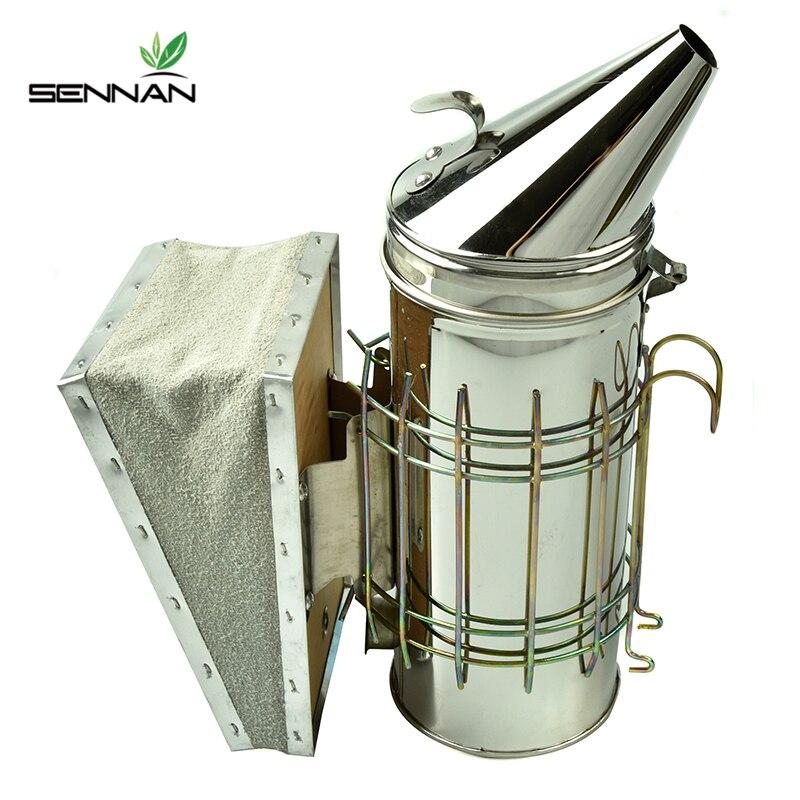 SenNan Edelstahl Bee Hive Raucher Verzinktem Eisen Mit Wärme Schild Schutz Bienenzucht Bienenzucht Werkzeug Ausrüstung
