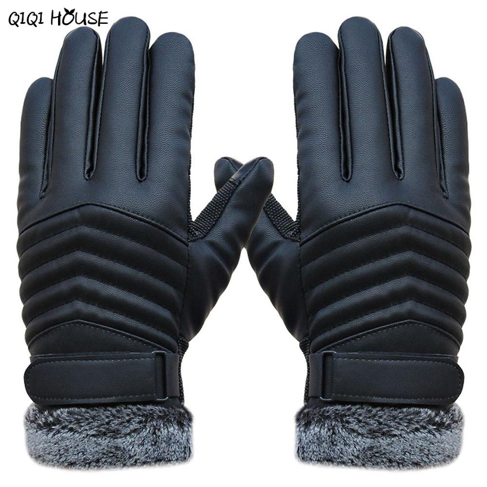 Kid leather driving gloves - Winter Gloves Men Kids Thicken Gloves Mens Leather Driving Gloves Touch Screen Antifreeze Fur Warm Gloves