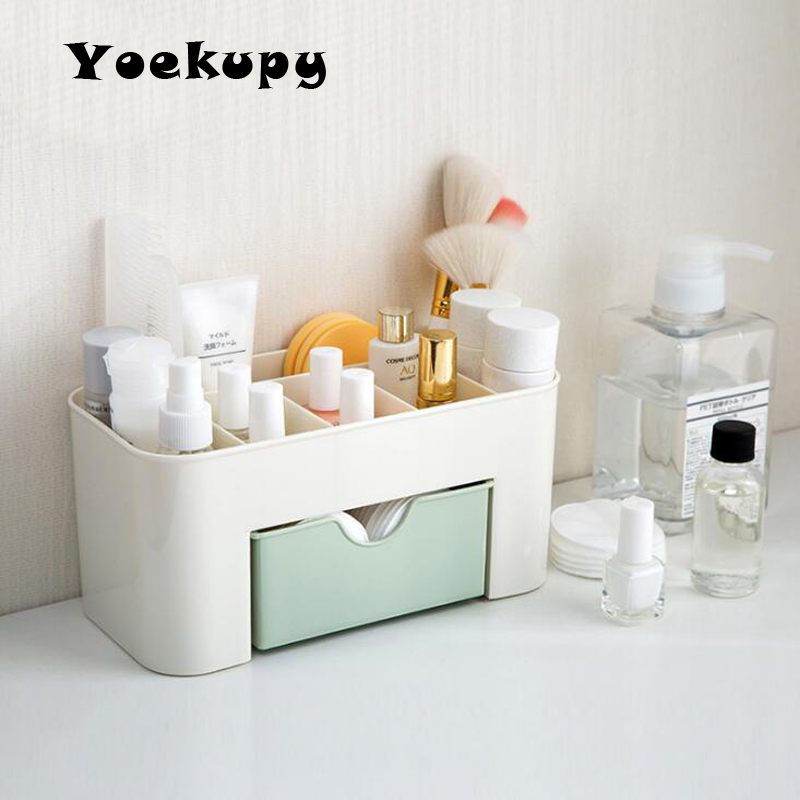 Large Plastic Cosmetic Storage Box Jewelry Container Makeup Organizer Case Drawer Cotton Pads Nail Polish Desktop Box 2018 free shipping baby cot cotton quilt kindergarten summer quilt removable cotton quilt is children 120 100cm