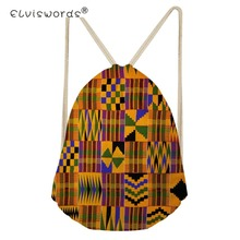 ELVISWORDS Women Drawstring Bag African Traditional Tribal Ethnic Women's Backpack Lady String Shoulder Bags Succunct Hippie