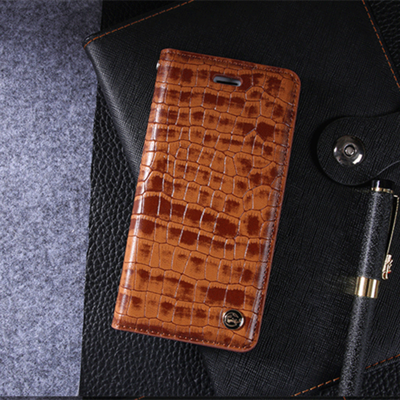 Luxury Vintage Leather Case for iPhone 7 8 6 6s Plus Crocodile Grain Flip Card Slot Cover for Samsung Galaxy S8 Plus Phone Cases