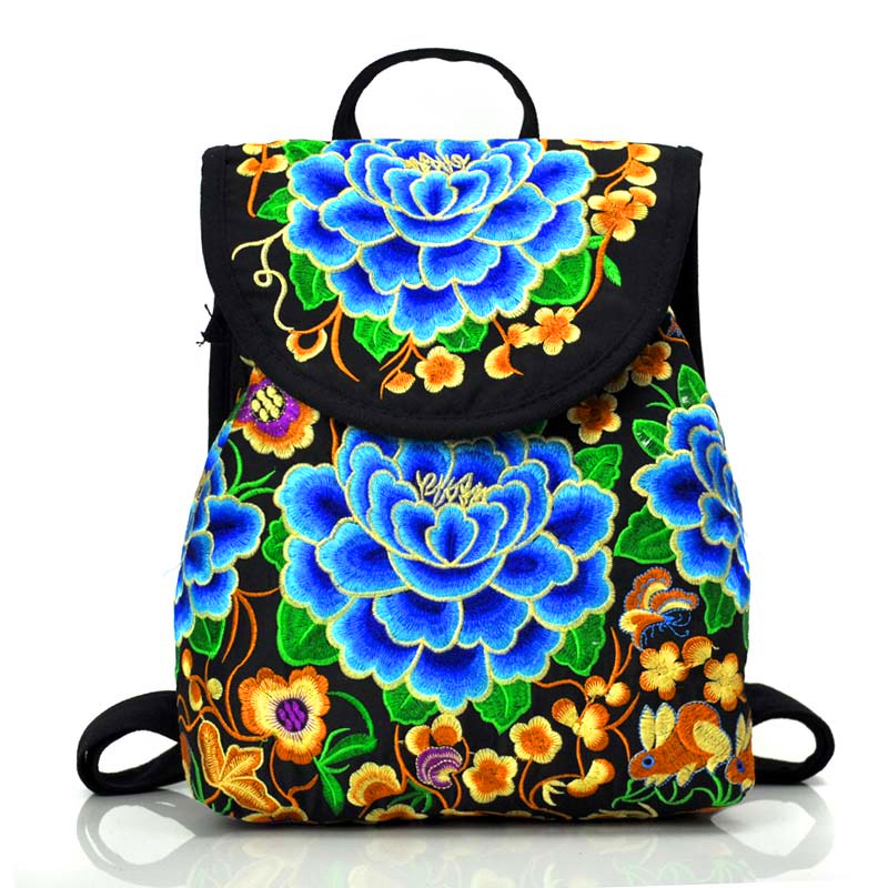 Thailand Style Women Full Floral Embroidered Canvas Backpacks Teenager School Bags Retro Embroidery Travel Rucksacks Large/small