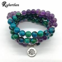 Ruberthen 2018 новый дизайн Исцеление йогой браслет или цепочки и ожерелья Феникс Ame-thyst камень медитативной 108 мала Йога ювелирные изделия