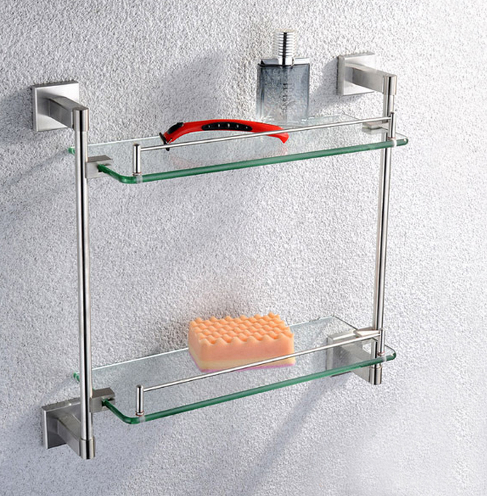 Modern Bathroom stainless steel Accessories Products Solid SUS304 nickel Finished Double Glass shelf  SUS004 304 stainless steel 280 140 500mm bathroom shelf bathroom products bathroom accessories 29016