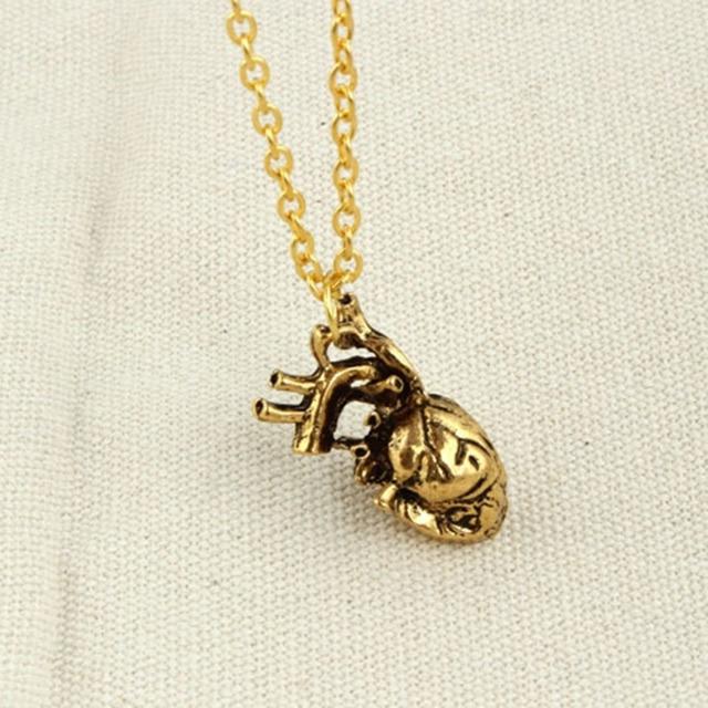 Punk Anatomical Heart Necklace Vintage Anatomy Heart Pendant Antique ...