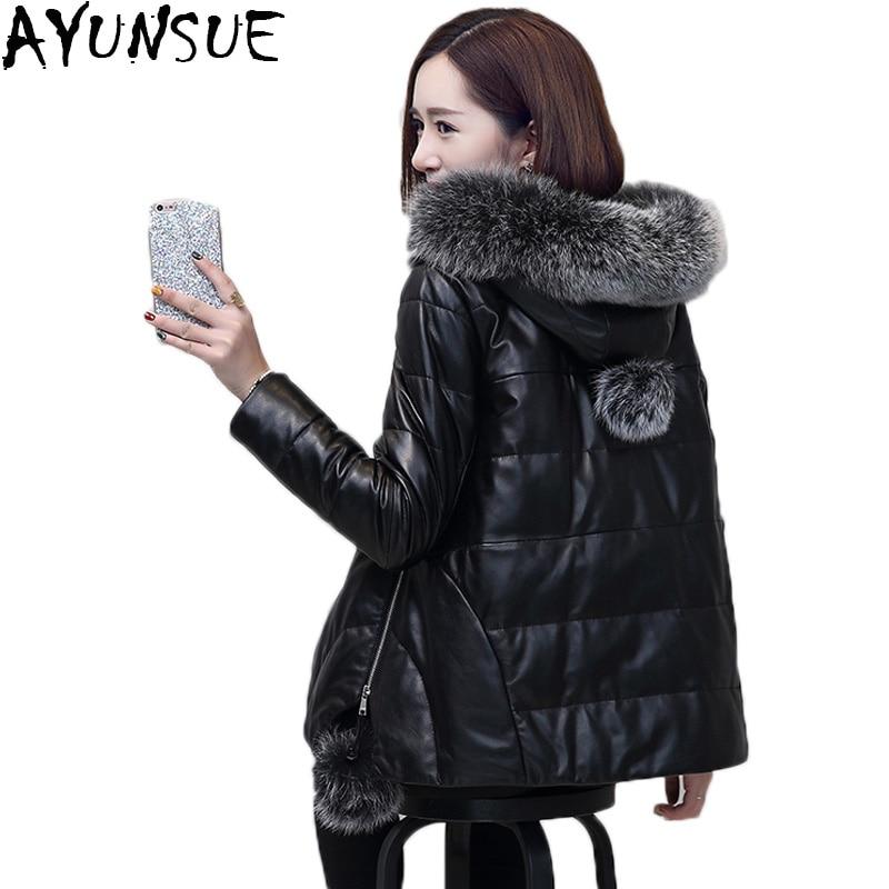 AYUNSUE Plus Size Winter Genuine Women Leather Jacket 2018 Fox Fur Short Warm Duck Down Parka