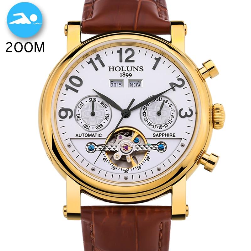 200 m Wasserdicht Männer Uhr Top Marke Luxus Automatische Mechanische Uhr Männer Leder Business Sport Uhren Relogio Masculino-in Mechanische Uhren aus Uhren bei  Gruppe 1