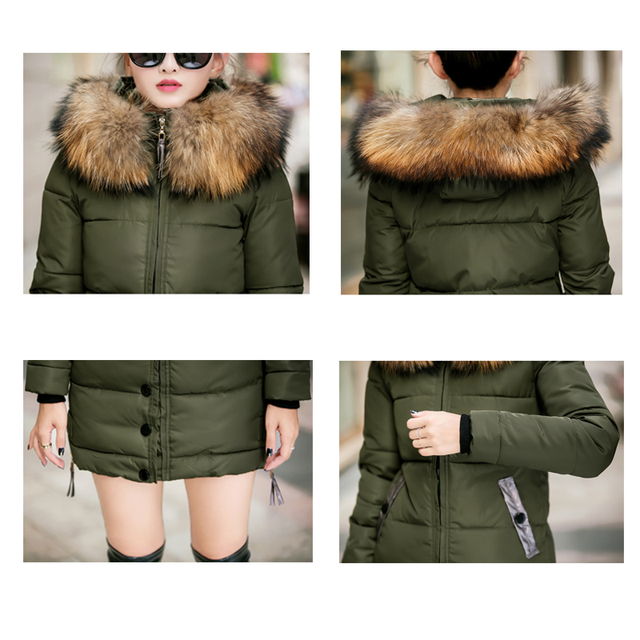 2018 fur collar plus size 3XL women winter hooded coat female outerwear parka ladies warm long jacket slim jaqueta feminina 5