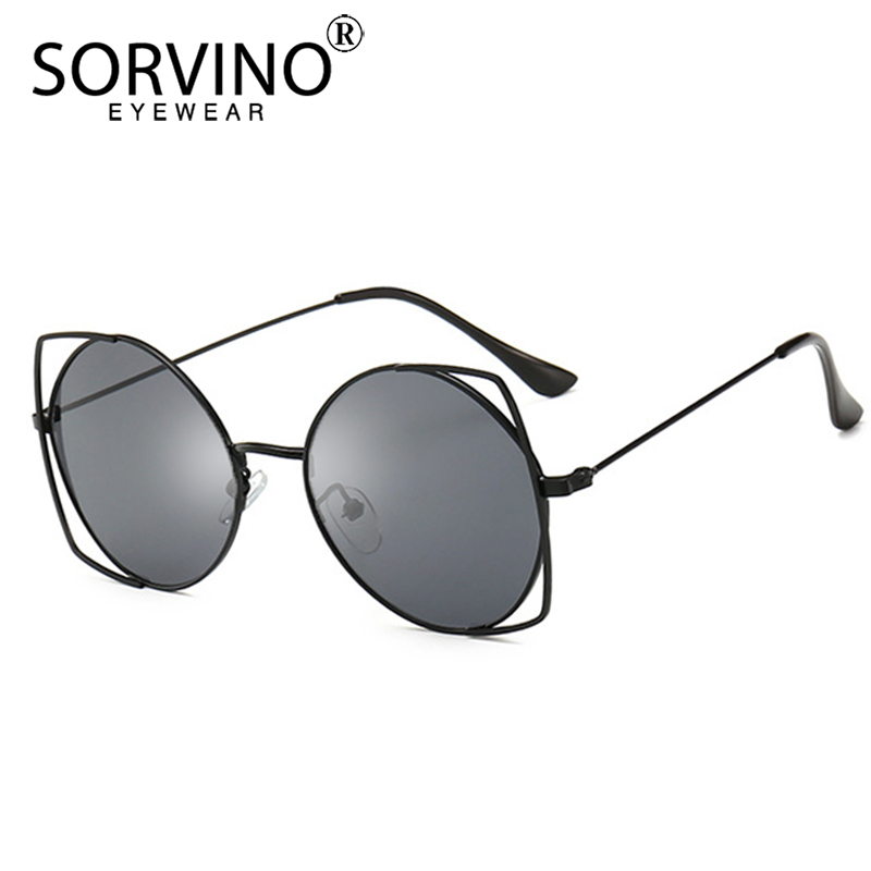 81169d96f8 SORVINO Vintage Shades for Women Round Sunglasses Luxury Brand 90s Designer Semi  Rimless Rose Gold Black Clear Sun Glasses SP304-in Sunglasses from Apparel  ...