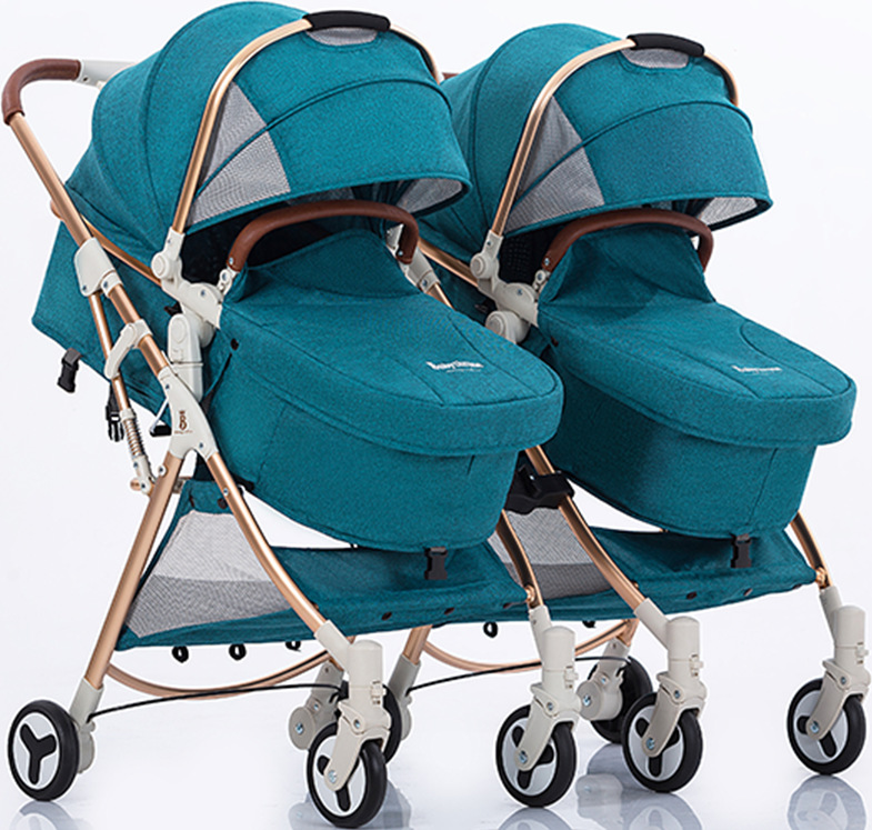 High landscape twin baby stroller can sit reclining light and easy to fold detachable shock absorber double pramHigh landscape twin baby stroller can sit reclining light and easy to fold detachable shock absorber double pram