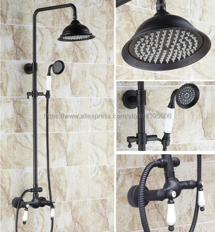 Oil Rubbed Bronze Bathroom Rainfall Shower Faucet Set Double Handle Mixer Tap With Hand Sprayer Wall Mounted Bath Shower Brs471 wall mounted oil rubbed bronze shower faucet black single handle bath and rain shower faucet with hand shower