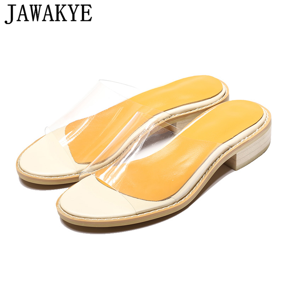 2018 New Peep toe Flat Slippers PVC Transparent Shoes Woman low heel Clear Slides Beach Summer Sandals ladies shoes
