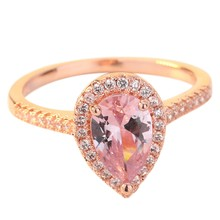 Rose Gold Color Cubic Zirconia Ring Pear Shape Art Wedding Rings Birthstone Ring Promise Rings For Women(China)